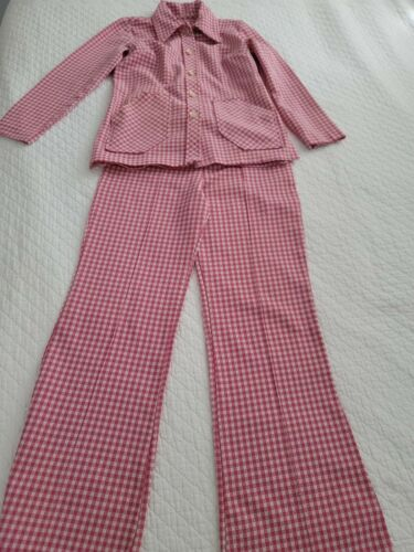 Vintage 70's Ladies Suit Bell Bottom  Checked