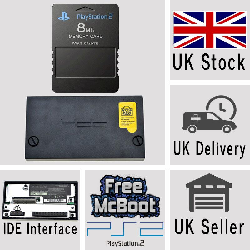 Sony PlayStation2 PS2 IDE HD Hard Drive Adaptor Adapter & 8MB Memory Card McBoot