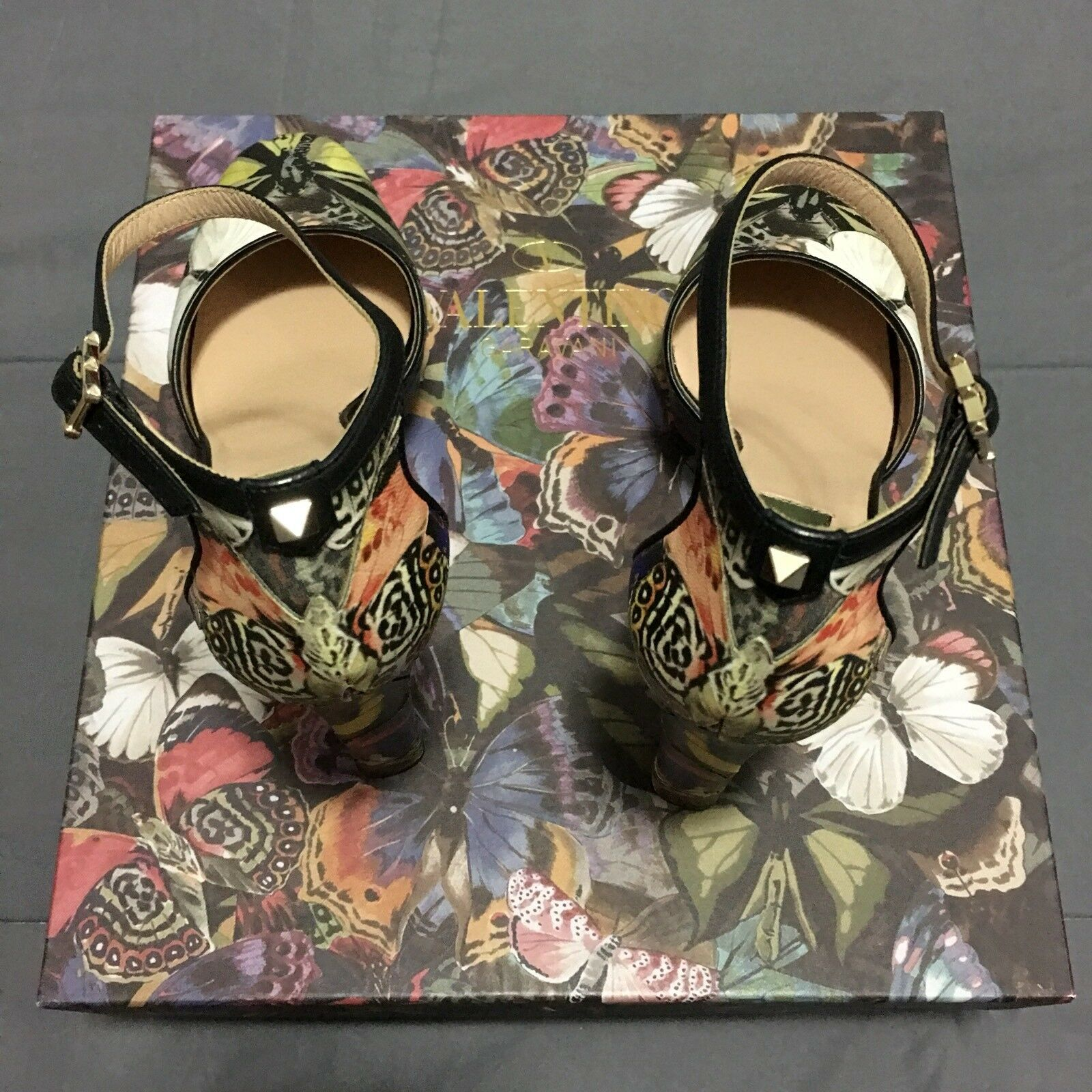 Valentino Garavani Camubutterfly Camo Multi Color Stud Italy Heels schuhes Italy Stud Size 39 67b2c0