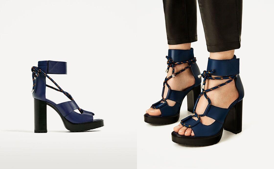Zara Woman sandalias de cuero plataforma azul Lace 40 up gladiador Platform Blue 40 Lace 07cf25