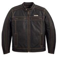 Harley Davidson Men's Trenton Brown Vintage Riding Leather Jacket XL 97106-12VM