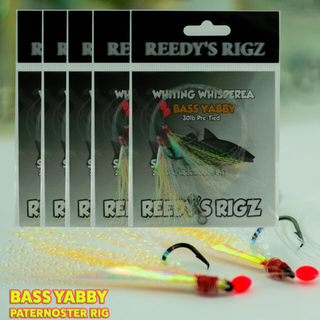 5 Whiting Rigs KG Paternoster Fishing Rig Size 4 Hook Bass Yabby Flasher Rig