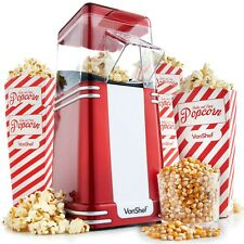VonShef Popcorn Maker Machine Retro Hot Air Popper with 6 Boxes Healthy Snack