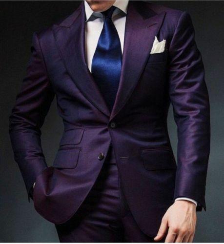 Purple Men/'s 2 Piece Peak Lapel Wedding Groom Tuxedos Groomsman Best Man Suits