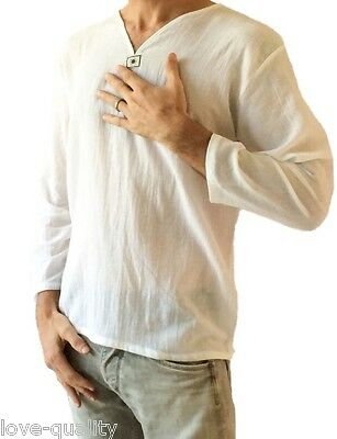 Men's White T-Shirt 100% Cotton Thai Hippie Shirt V-Neck Beach Yoga Top