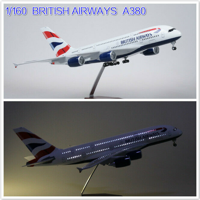 1 160 BRITISH AIRWAYS modello A380 Simulation Passenger Aircraft  LED Voice Light