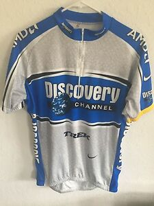 cdd6affc5 Nike Discovery Channel Trek Cycling Jersey Sz Small Dri Fit Read Zip ...
