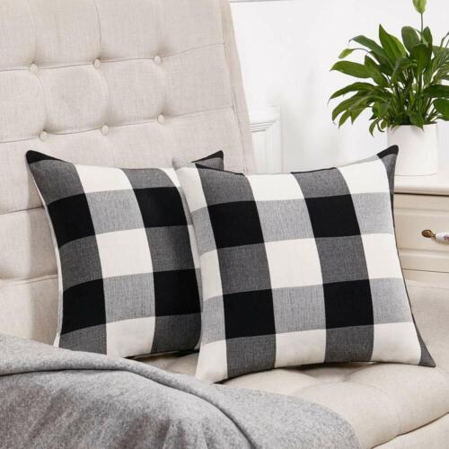 "Farmhouse Home Decoration Buffalo Plaid Throw Pillow Covers Case Cushion 18x18/"""