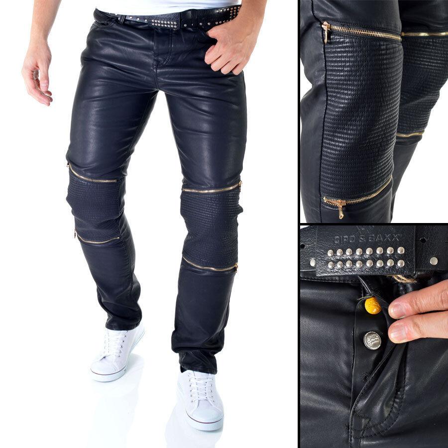 Sixth June Mens Faux Leather Trousers Biker Pants Shimmering Slim Skinny