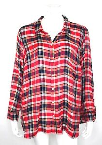 c5ffc277 Lucky Brand Womens Plaid Split Back Button Front Shirt Size 2X Red ...