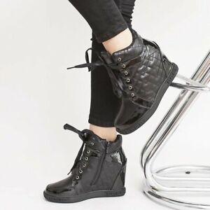 Keilabsatz Sneaker Sportschuhe Hidden Wedges Stiefeletten Schwarz/%/%Weiss@!@!++++
