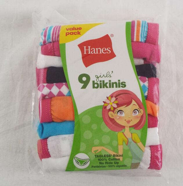 Hanes Girl's No Ride Up Cotton TAGLESS Bikinis 9-Pack - Pink,Teal,Orange,Black