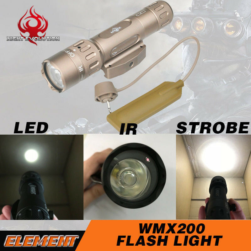 Tactical WMX200 Strobe Flash light Hunting Torch Fixed Rail Mount With IR Led
