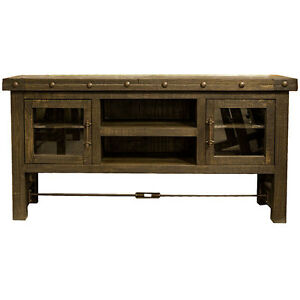 60 Dark Oak TV Stand TV Console Glass Door Real Solid Wood Rustic Weste