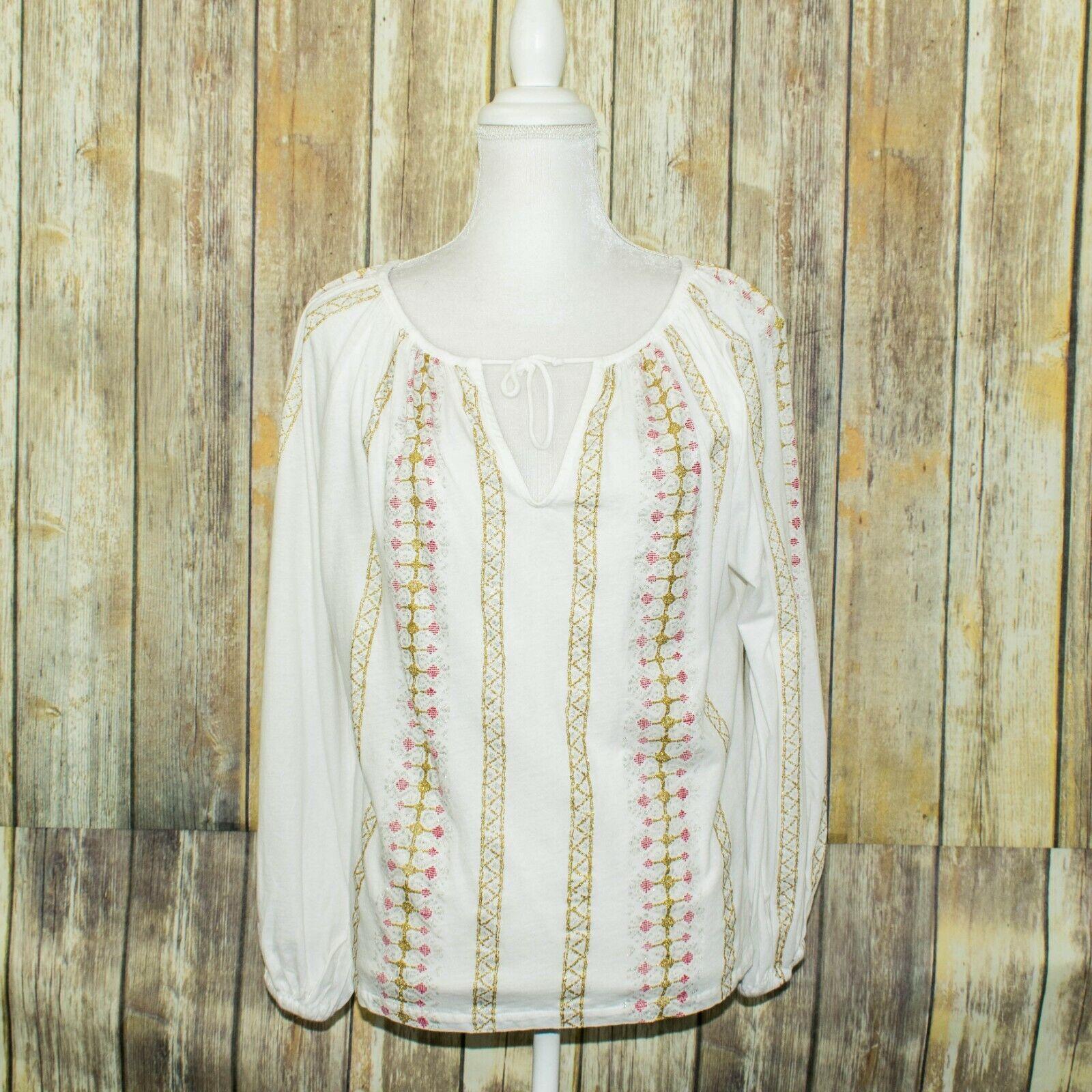 Mes Domoiselles Woherren JAIME BOHO Blouse Weiß Embroiderot Striped Sz 40