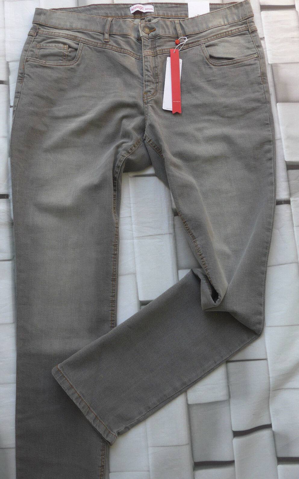 Sheego Stretch Jeans Size 44 - 58 Lana Grey Long short Normal Size (075) New