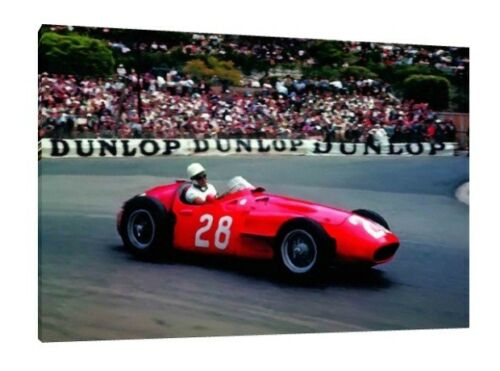 Maserati 250 F Stirling Moss 30x20 Inch Canvas Framed Picture Print