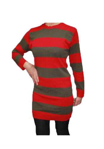 Womens Knitted Long Jumper Red Green Brown Stripe Halloween UK Made Freddy Krue