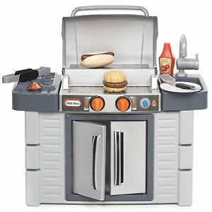 bbq grill kids play kitchen set cook food chef bar outdoor toy