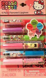 SANRIO 6pc Liquid Lip Gloss HELLO KITTY Flavored Set/Lot CHERRY+GRAPE+VANILLA+
