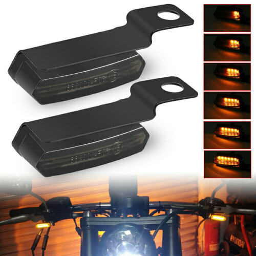 2x Smoke Mini LED Motorcycle Turn Signal Indicators Front Rear Blinker Lights