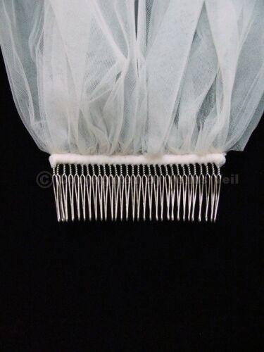 Handmade 2T White Elbow Length Cut Edge Bridal Wedding Veil