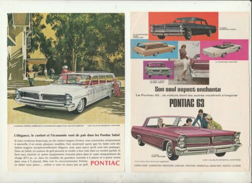 convertible    AD 4 pages ad french 1963  PONTIAC PARISIENNE Sport Coupe