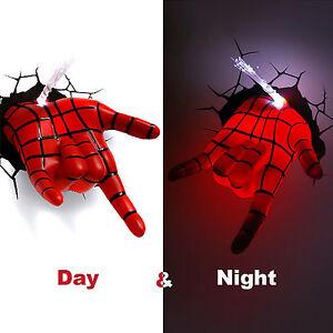 Marvel avengers spider man hand 3d deco wall led night light art fx image is loading marvel avengers spider man hand 3d deco wall aloadofball Choice Image
