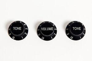 100% De Qualité Set Of Black Stratocaster Guitar Knobs 1v 2t - Set De Botones Strat Negros