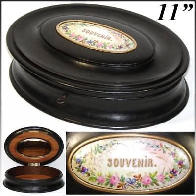 """Ebonized The Best Antique Victorian Era 11"""" Oval Jewelry Casket Hp Porcelain """"souvenir"""""""