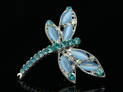 2pc Aqua blue crystal cateye bead silver plated dragonfly Brooch pin insect D30
