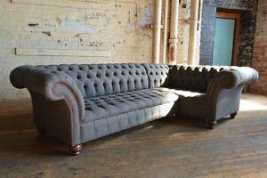 Image Is Loading Handmade Modern 5 Seater Slate Grey Wool Corner