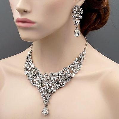 Rhodium Plated Flower Crystal Necklace Earrings Bridal Wedding Jewelry Set 09076