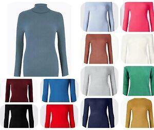Nuevo-jersey-para-mujer-Cuello-Acanalado-Polo-Roll-Cuello-de-punto-fino-ex-M-amp-S-Para-Mujer-Talla