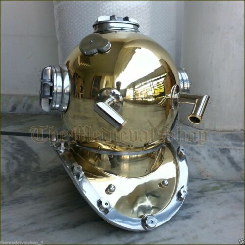 "Antique Brass Scuba Deep Sea Diving Divers Helmet Mark V U.S Navy Vintage 18/"""