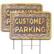 Customer Parking 2 Pack Double Sided Yard Signs 16 X 24 With Metal Stakes Mad