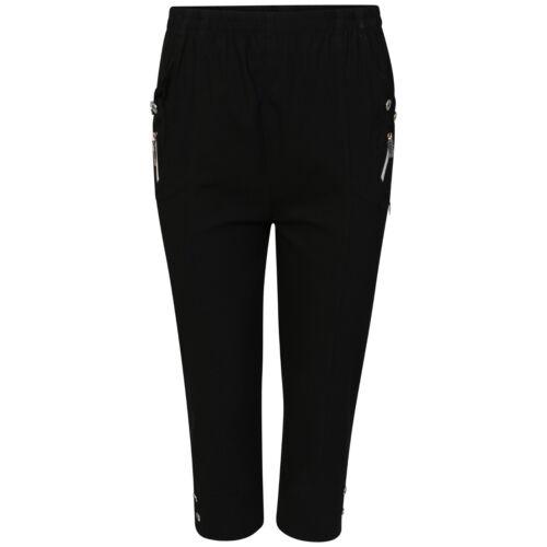 Donna Elasticizzato 3//4 Pantaloncini Corti Pantaloni stretch tasche pants 10-24