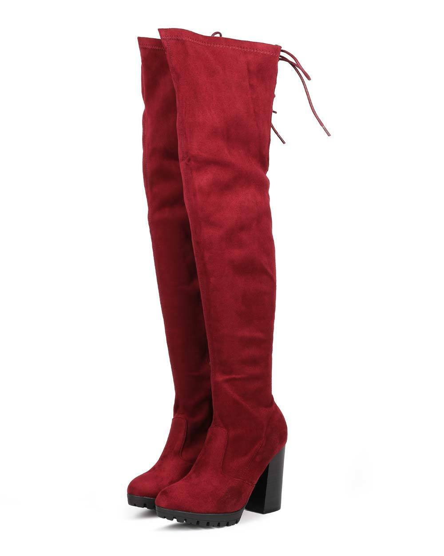 New Women Wild Diva Kimber-09 Suede Over The Knee Block Heel Boot