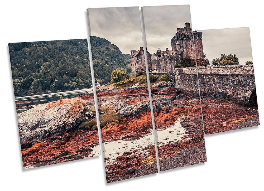 Eilean Donan Castle Highlands Picture CANVAS CANVAS CANVAS WALL ART Four Panel 3108a0