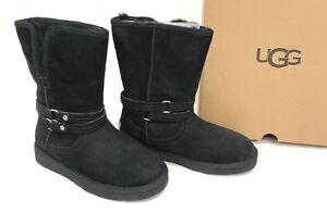 b3649c2a729 Details about UGG Australia PALISADE Black size 6 8 Short Boots Suede  Sheepskin Womens 1007700
