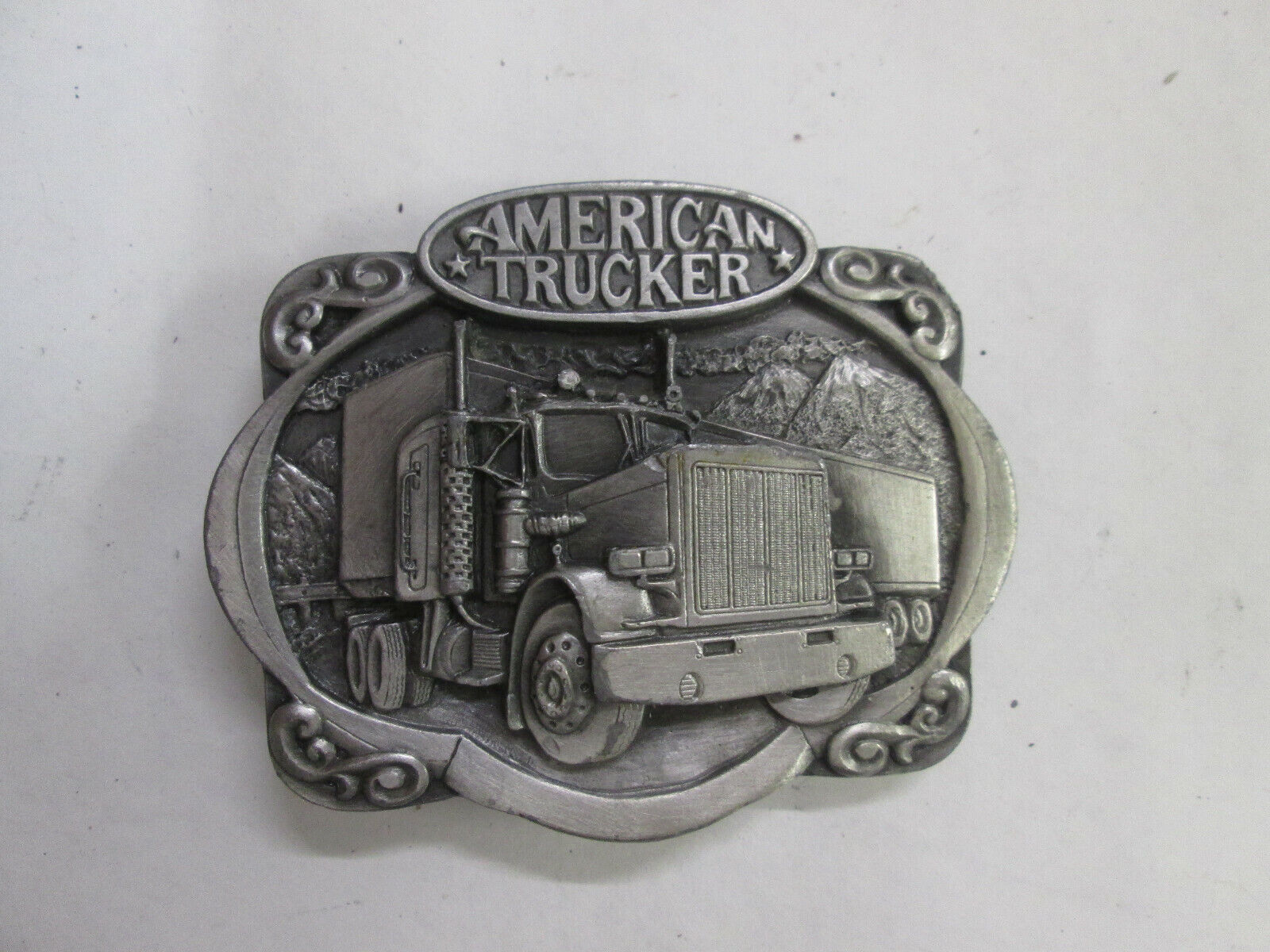 Belt Buckle Gürtelschnalle, American Trucker, Bergamot Brass Works, Vintage 1985