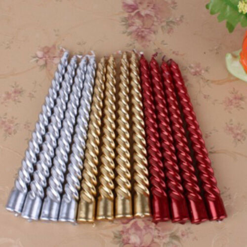 2pcs Taper Twisted Spiral Long Candles for Dinner Table Wedding Decor Red