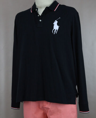 Polo Ralph Lauren Men's Black Cotton Large Pony Polo Shirt Ret New
