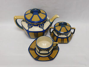 Mettlach-Tea-Set-of-Large-Teapot-Covered-Sugar-and-Cup-amp-Saucer