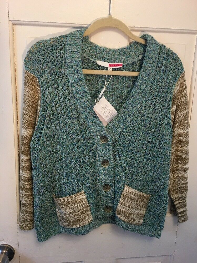 Anthropologie tracy reese cardigan bluee with contrast trim nwt Patchwork