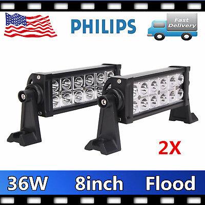 2X 8INCH 36W LED Work Light Bar Spot//Flood Offroad SUV Car Boat Driving Lamp 4WD