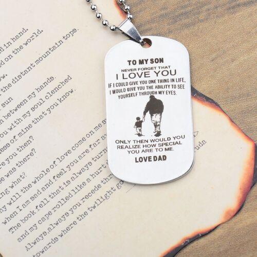 Papa Fils Pendentif à mon fils n/'oublie jamais que je vous aime Dog Tag Collier Cadeaux