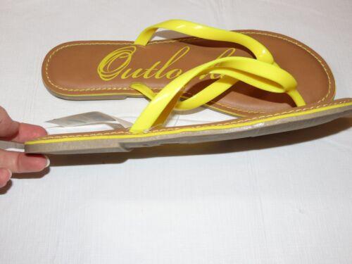 Outlooks womens flip flops sandals bright yellow tan beach Womens 7M 7 *^^^