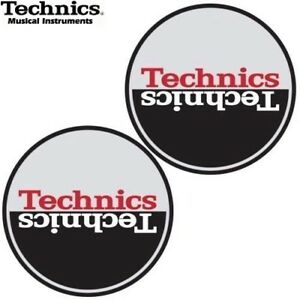 Technics-60663-PAIR-Slipmat-Moon-3-Style-SILVER-BLACK-RED-Original-Brand-New