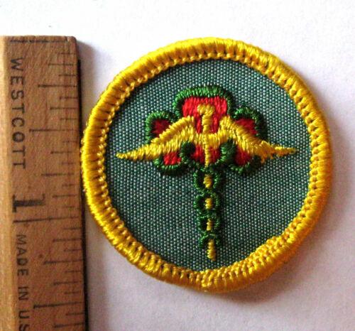 Girl Scout 1963-70 Cadette PUBLIC HEALTH BADGE Doctor Caduceus Trefoil Patch NEW